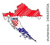 croatia map hand drawn sketch.... | Shutterstock .eps vector #1406335526