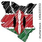 kenya map hand drawn sketch.... | Shutterstock .eps vector #1406335553