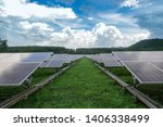 solar panels farm on green... | Shutterstock . vector #1406338499