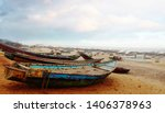 colourful fishing boats at... | Shutterstock . vector #1406378963