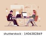 people in modern office vector... | Shutterstock .eps vector #1406382869