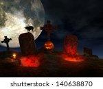 Halloween Scene With Graves ...