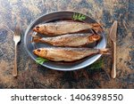 Stock photo smoked herring with dill on a metal dish copy space for your text 1406398550