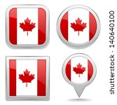 canadian flag buttons | Shutterstock .eps vector #140640100