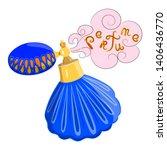 perfume blue bottle in vector....   Shutterstock .eps vector #1406436770