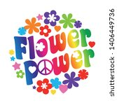 flower power typography in a... | Shutterstock .eps vector #1406449736