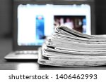 newspapers and laptop.... | Shutterstock . vector #1406462993