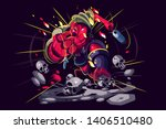 angry warrior in action vector... | Shutterstock .eps vector #1406510480