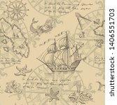 old caravel  vintage sailboat ...   Shutterstock .eps vector #1406551703