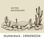 Cacti In The Arizona. Hand...