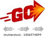 word go with arrow. red vector... | Shutterstock .eps vector #1406574899