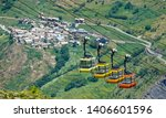 close up  colorful cable cars... | Shutterstock . vector #1406601596