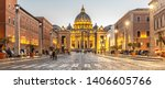 Vatican City by night. Illuminated dome of St Peters Basilica and St Peters Square at the end of Via della Conciliazione. Rome, Italy. - stock photo