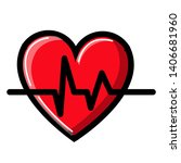 heart with a cardiogram and... | Shutterstock .eps vector #1406681960