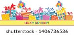 happy birthday  birthday card.... | Shutterstock .eps vector #1406736536