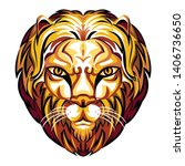 amazing glowing color gold lion ... | Shutterstock .eps vector #1406736650