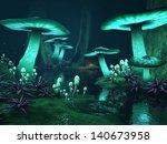 Fantasy Dark Forest With Green...