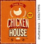 vintage chicken house poster.... | Shutterstock .eps vector #140674996