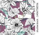 tropical  stripe  animal motif. ... | Shutterstock .eps vector #1406758556