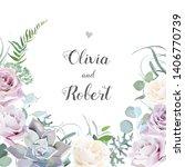 floral vector design frame.... | Shutterstock .eps vector #1406770739