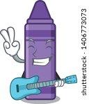 with guitar purple crayon...   Shutterstock .eps vector #1406773073