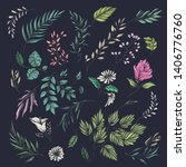 colorful flower and leaf theme... | Shutterstock .eps vector #1406776760