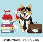 corgi work and receive a phone... | Shutterstock .eps vector #1406779139