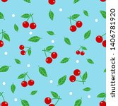 cherry pattern with green... | Shutterstock .eps vector #1406781920