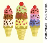 these three ice creams will... | Shutterstock .eps vector #1406781986