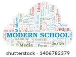 modern school word cloud.... | Shutterstock .eps vector #1406782379