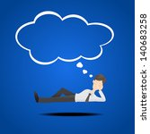 happy business man dreaming | Shutterstock .eps vector #140683258