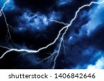 Lightning Strike on sky dark clouds in bad weather before a big storm rain. Light emission  from the Edge of clouds.  Zoom the surface of a Black haze at close range. - stock photo