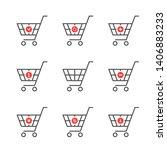 set of black thin line shopping ...