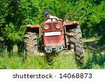 old farmer plowing between... | Shutterstock . vector #14068873