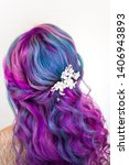 stylish trendy hairstyle of... | Shutterstock . vector #1406943893