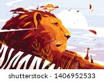 Majestic Lion On Safari Vector...