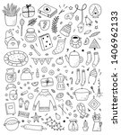 big hygge collection with hand... | Shutterstock .eps vector #1406962133