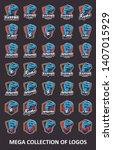 raptor logos. set of 35 raptor... | Shutterstock .eps vector #1407015929