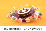 chocolate cakes and... | Shutterstock . vector #1407194039