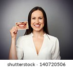 Smiley Healthy Woman Holding...