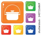 cooking cauldron icons set... | Shutterstock .eps vector #1407216869