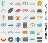 concrete mixer icons set.... | Shutterstock .eps vector #1407218699