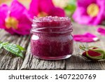 Stock photo rugosa rose marmalade fresh petals crushed with cane sugar in a glass jar 1407220769