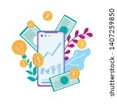 cellphone with financial charts ... | Shutterstock .eps vector #1407259850