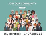 join our community. crowd of... | Shutterstock .eps vector #1407285113