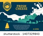 vector cheese illustration with ... | Shutterstock .eps vector #1407329843