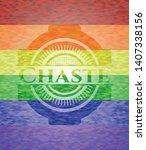 chaste emblem on mosaic...   Shutterstock .eps vector #1407338156