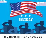 happy memorial day card with... | Shutterstock .eps vector #1407341813