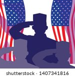 silhouette of militaries with...   Shutterstock .eps vector #1407341816