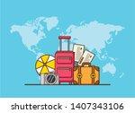 beach vacations world bags ball ... | Shutterstock .eps vector #1407343106